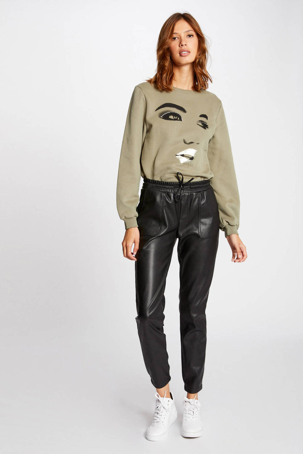 Morgan imitatieleren cropped high waist slim fit broek zwart, Zwart