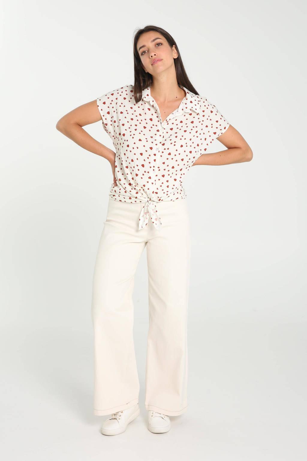 Cassis blouse met hartjes ecru/rood, Ecru/rood