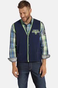Jan Vanderstorm trui VINNY Plus Size met contrastbies en borduursels donkerblauw, Donkerblauw
