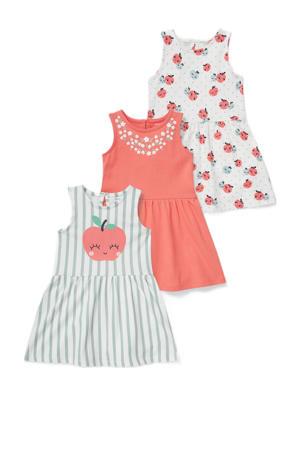jurk - set van 3 roze/wit/groen