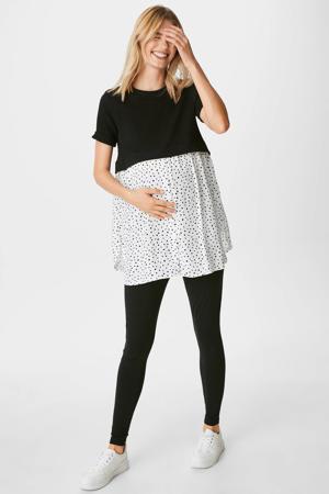 zwangerschapstuniek met all over print zwart/wit