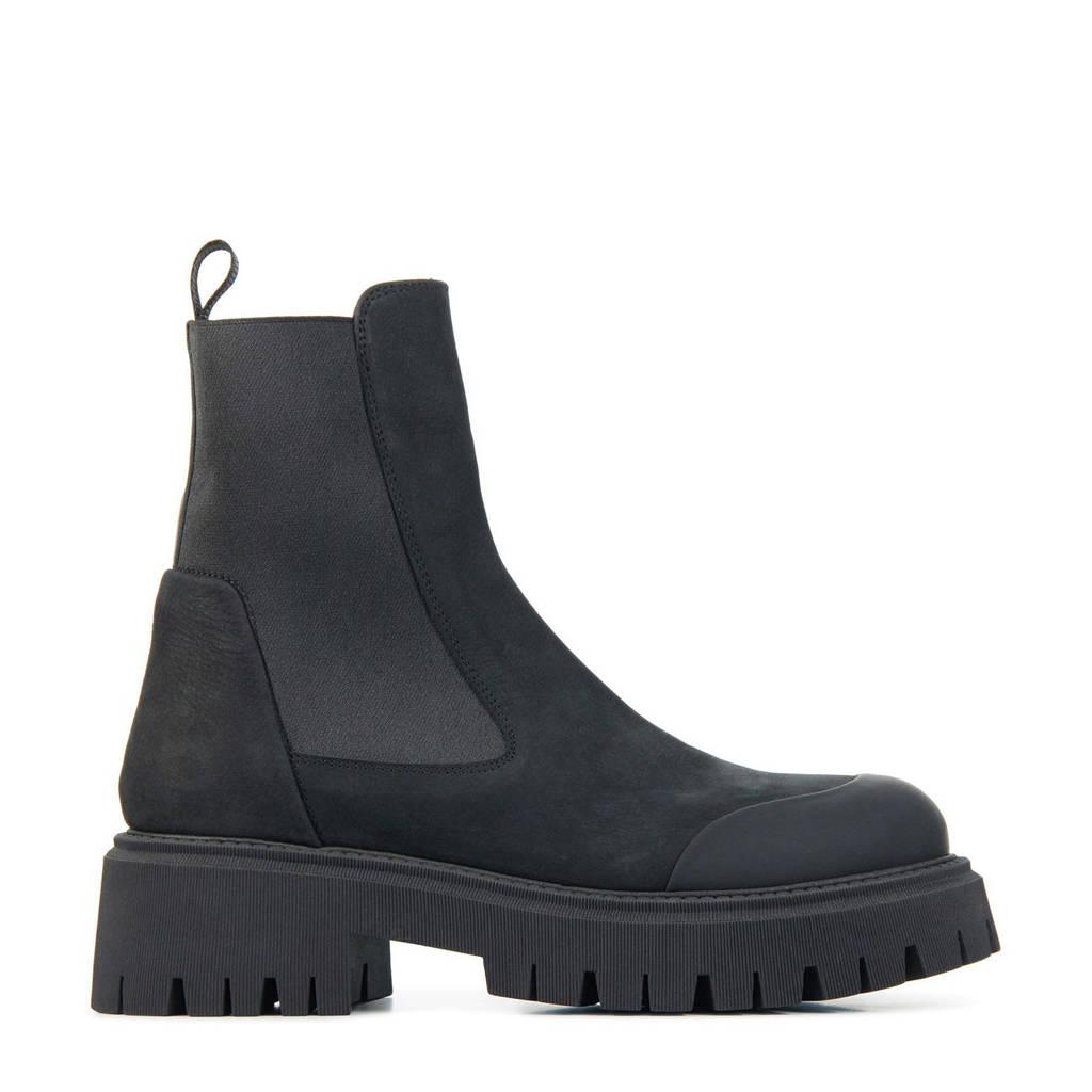 Red Rag 76884  nubuck chelsea boots zwart, Zwart