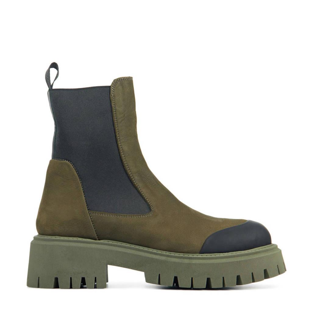Red Rag 76884  nubuck chelsea boots groen, Groen