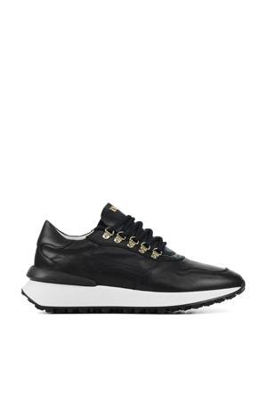 76846  leren sneakers zwart