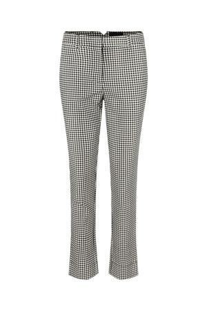 geruite cropped slim fit pantalon PCESANNA zwart/wit