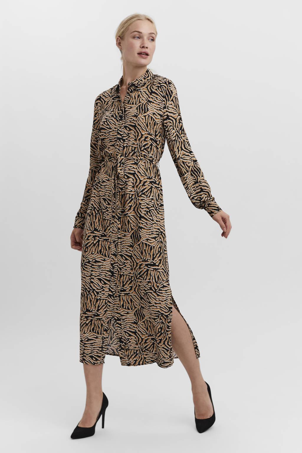 VERO MODA blousejurk VMUMA met all over print en ceintuur bruin/zwrat/wit, Bruin/zwrat/wit