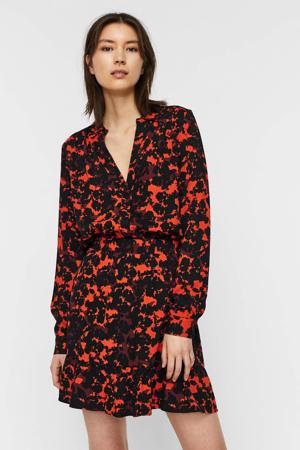 blouse VMRIO met all over print zwart/rood