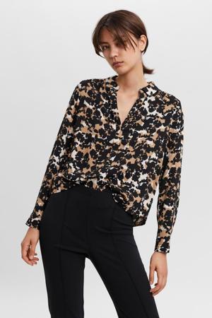 blouse VMRIO met all over print zwart/beige/wit