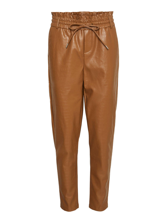 VERO MODA imitatieleren high waist tapered fit broek VMEVA  bruin, Bruin