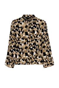VERO MODA blouse VMRIE  met all over print beige/zwart, Beige/zwart