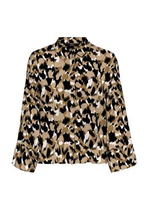 blouse VMRIE  met all over print beige/zwart