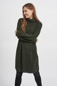 VILA fijngebreide jurk VIHANNA van gerecycled polyester donkergroen, Donkergroen