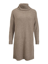 VILA fijngebreide jurk VIHANNA van gerecycled polyester beige, Beige