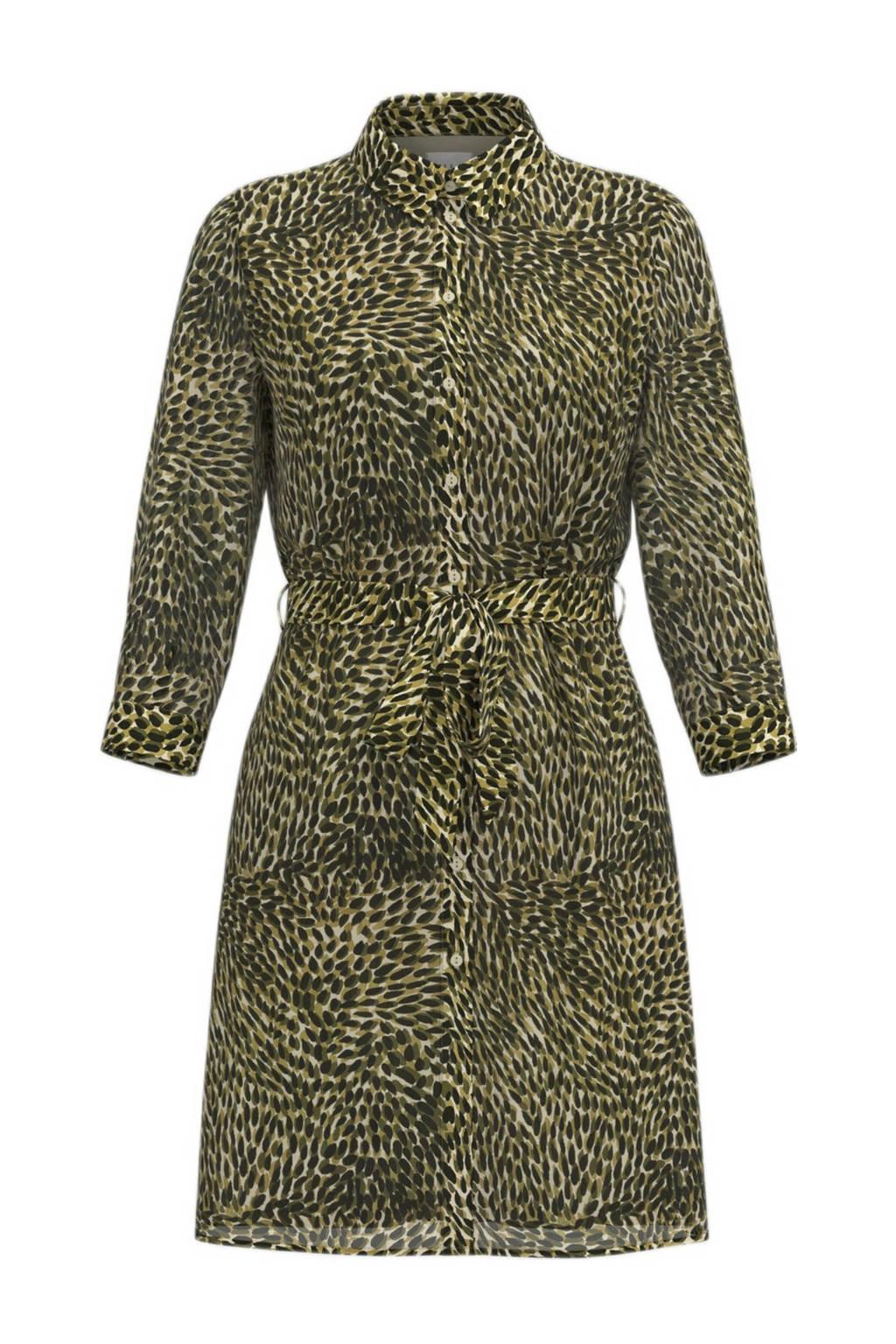 VILA blousejurk VIFULLA van gerecycled polyester groen/kaki/zwart, Groen/Kaki/Zwart