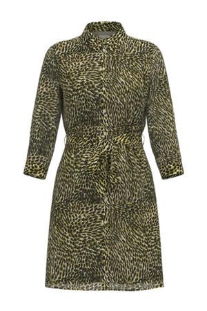 blousejurk VIFULLA van gerecycled polyester groen/kaki/zwart
