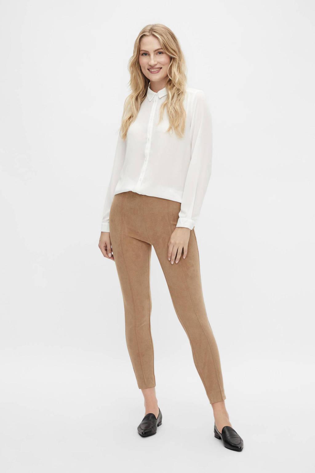 VILA cropped high waist skinny legging VISUDA van gerecycled polyester camel, Camel