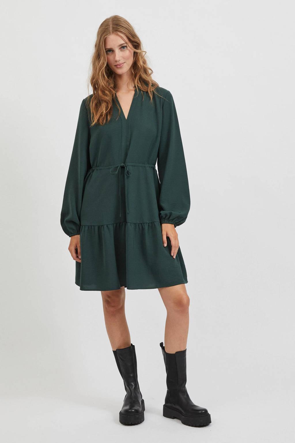 VILA trapeze jurk VISURASHAS  van gerecycled polyester groen, Groen