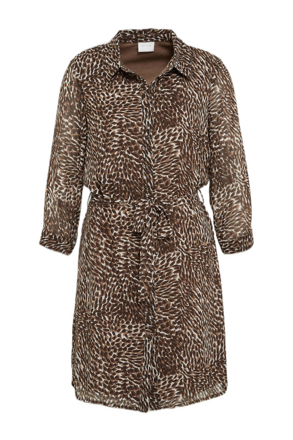 VILA blousejurk VIFULLA van gerecycled polyester, Bruin