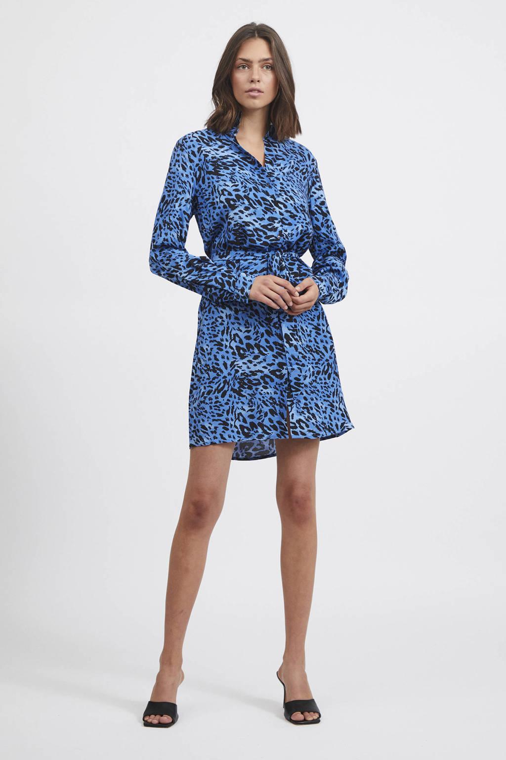 VILA blousejurk VILEOA met panterprint en ceintuur blauw/zwart, Blauw/zwart