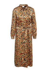 VILA gebloemde blousejurk VIMOCALA zwart/oranje/geel