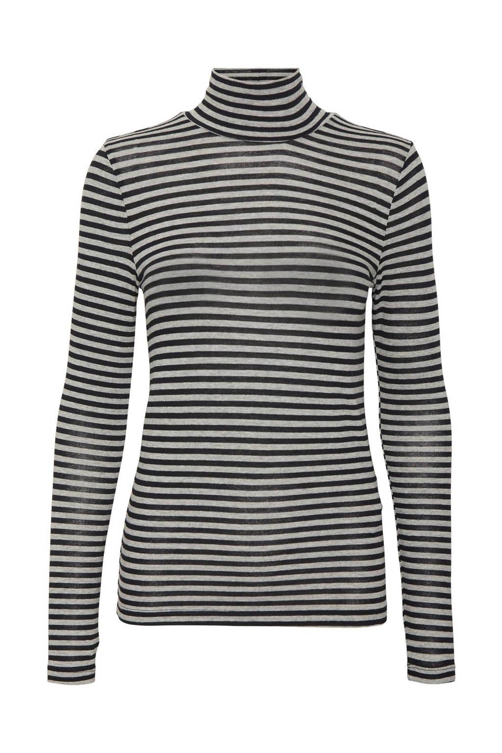 VERO MODA gestreepte top VMCARLA van gerecycled polyester zwart/wit, Zwart/wit