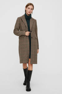 VERO MODA geruite  coat VMBLAST  bruin, Bruin