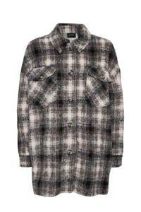 VERO MODA geruite shacket VMLUNA  van gerecycled polyester wit/bruin/zwart, Wit/bruin/zwart