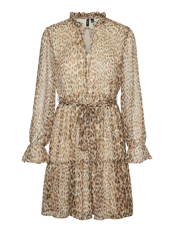 VERO MODA semi-transparante A-lijn jurk VMFLEO met dierenprint en ruches beige, Beige