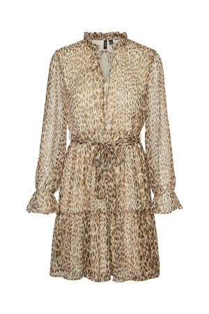 semi-transparante A-lijn jurk VMFLEO met dierenprint en ruches beige