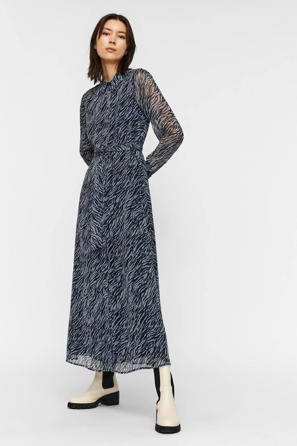 AWARE by VERO MODA semi-transparante maxi blousejurk VMRYLEE met zebraprint blauw/zwart, Blauw/zwart
