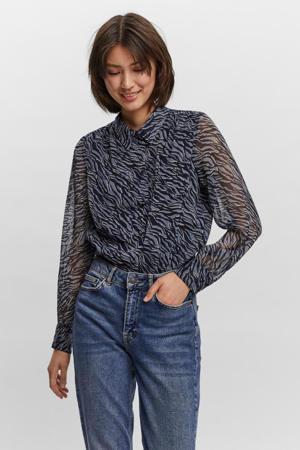 semi-transparante blouse VMRYLEE met zebraprint blauw/donkerblauw/wit