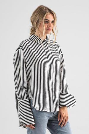 gestreepte blouse ecru