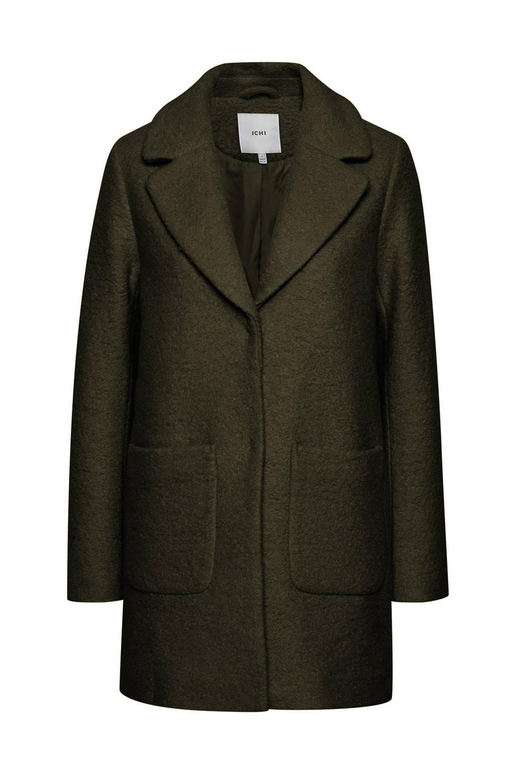 ICHI  coat winter IHSTIPA met wol donkergroen, Donkergroen