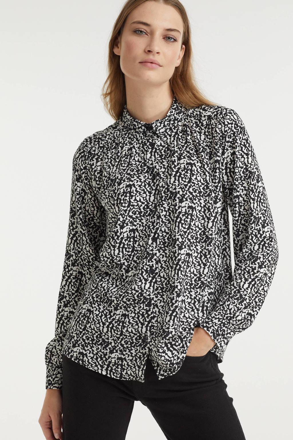 ICHI blouse IHVERA met all over print zwart/gebroken wit, Zwart/gebroken wit