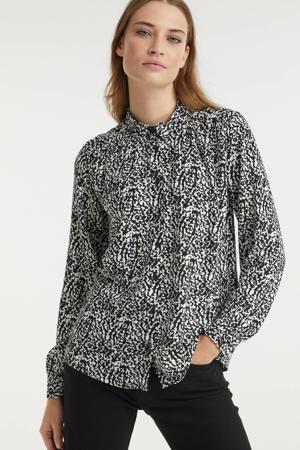 blouse IHVERA met all over print zwart/gebroken wit