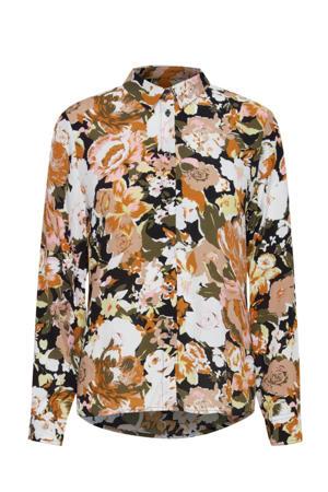 gebloemde blouse zwart/oranje/wit