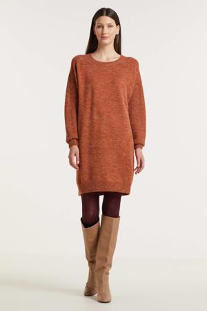 gebreide jurk oranjebruin
