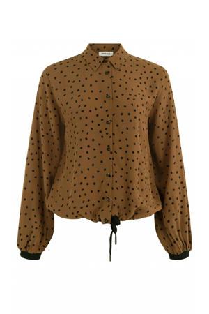 blouse met stippen camel dessin