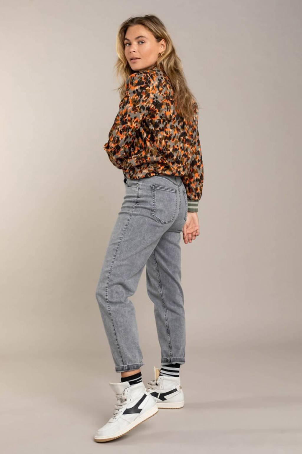 Anna Blue blouse met all over print oranje/grijs, Oranje/grijs