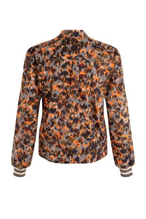 blouse met all over print oranje/grijs