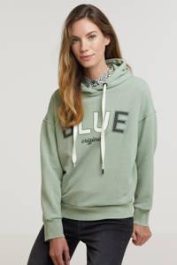 Anna Blue hoodie met printopdruk mintgroen, Mintgroen