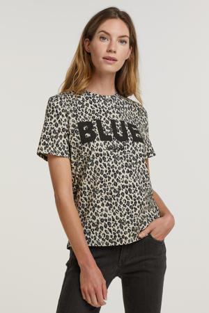 shirt met all over print ecru/grijs/zwart