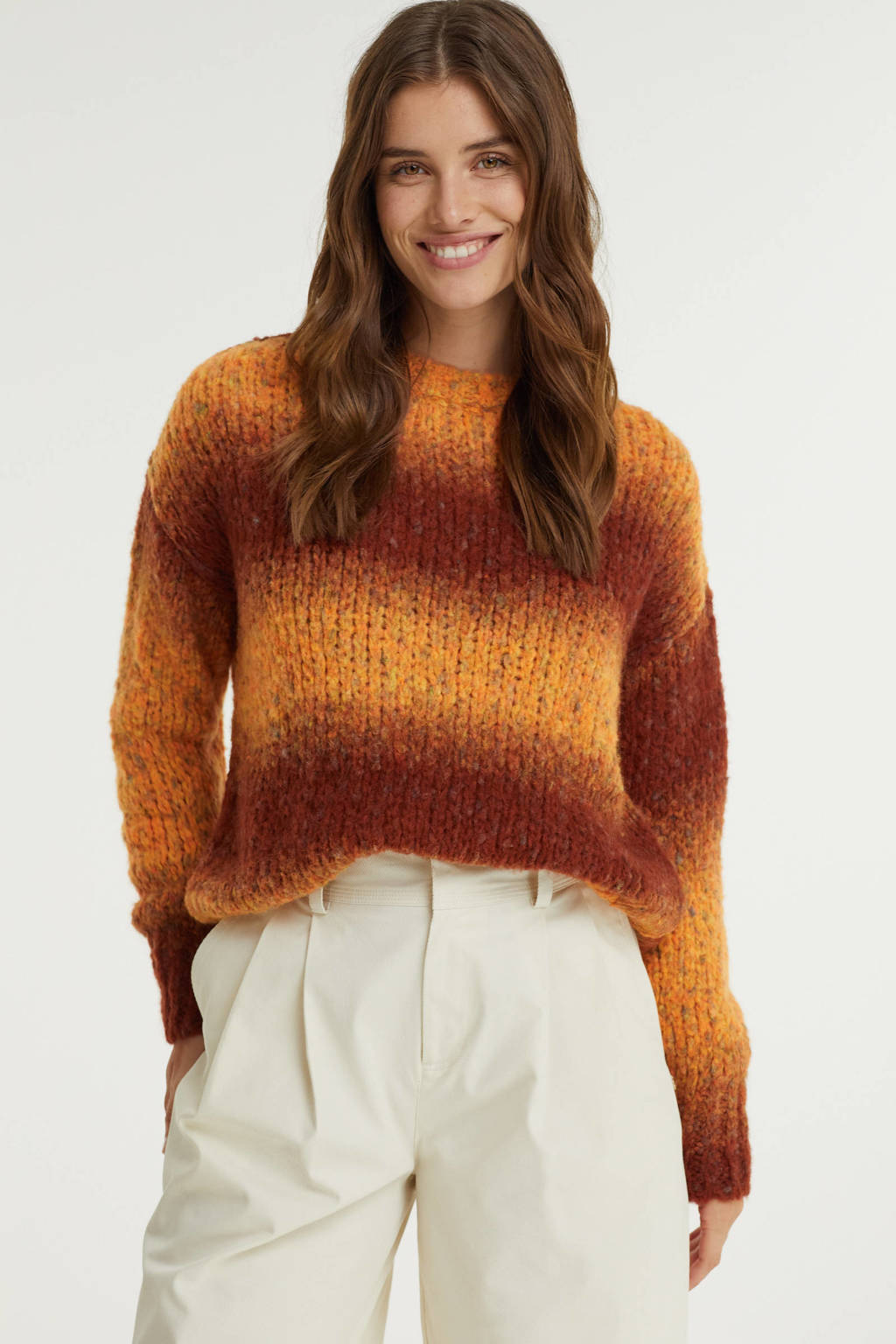 Anna Blue gebreide trui met wol oranje/rood, Oranje/rood