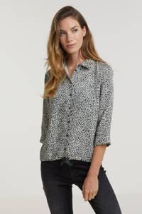 Anna Blue blouse met all over print gebroken wit/zwart, Gebroken wit/Zwart