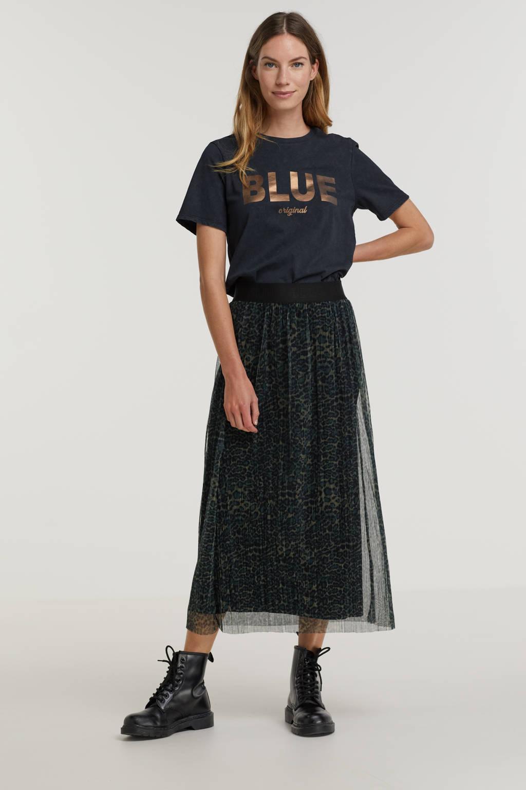 Anna Blue shirt met printopdruk zwart, Zwart