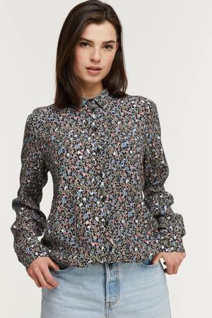 blouse met all over print olijfgroen/multi