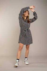 Anna Blue jurk met all over print en ceintuur olijfgroen/zwart/blauw, Olijfgroen/zwart/blauw