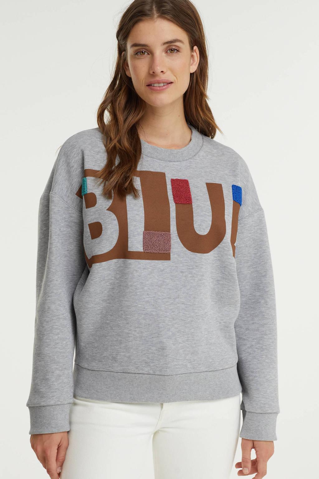 Anna Blue sweater met tekst grijs, Grijs
