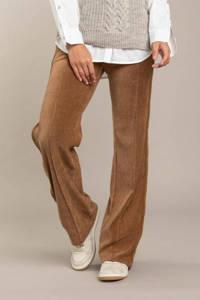 Anna Blue straight fit broek met zijstreep bruin, Bruin