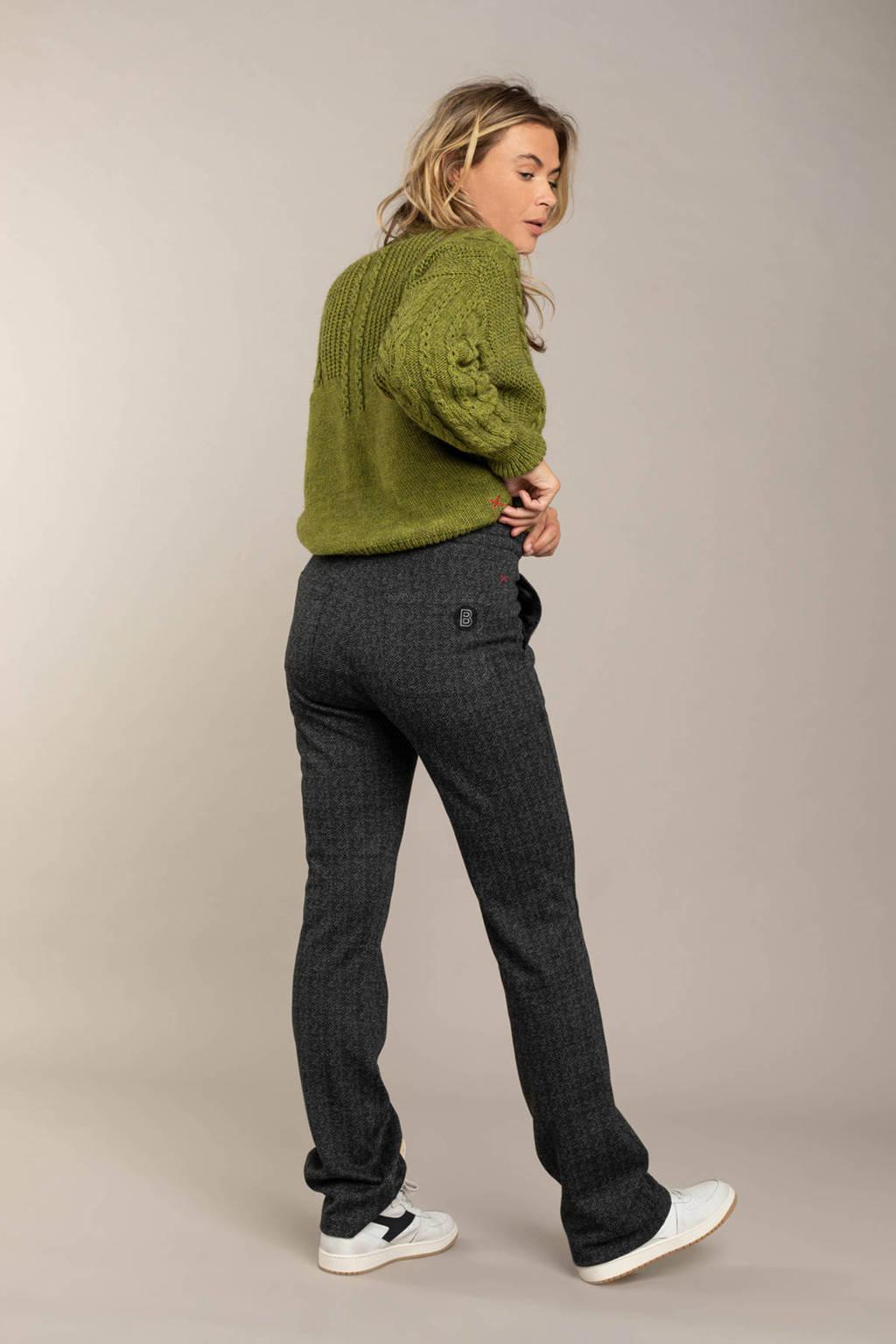 Anna Blue regular fit broek met all over print antraciet, Antraciet